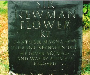 Sir Newman Flower's gravestone in Fontmell churchyard, carved on thick Welsh slate by Sidney Bendall
