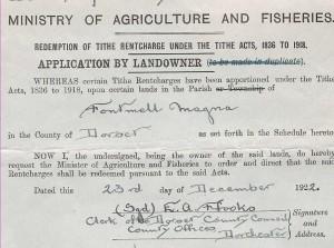Tithe document 1922