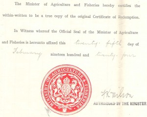 Tithe document 1924