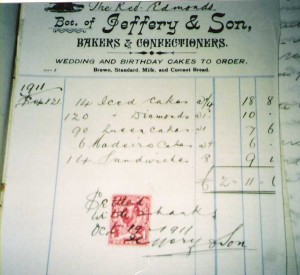 A bill from Jeffery & Sons, Bakers