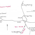 Sketch map of the two toll gates in the village.