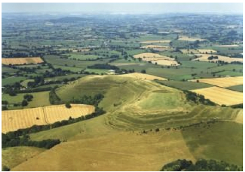 Aerial view of Hambledon Hill from the south