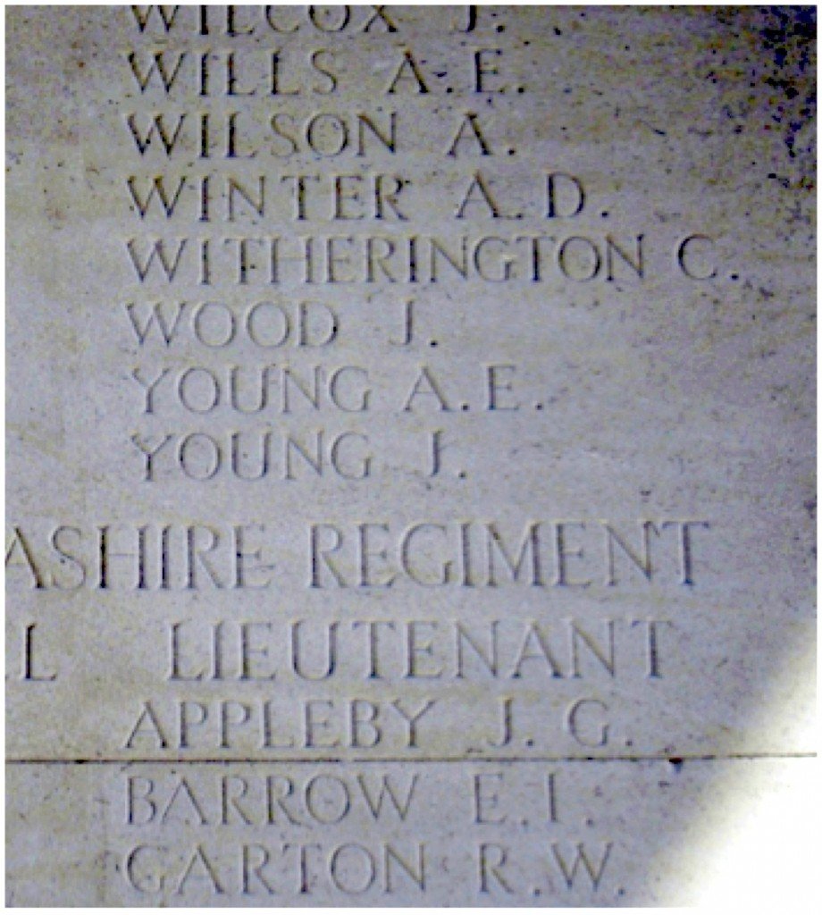 The name of James Young on the Thiepval Memorial