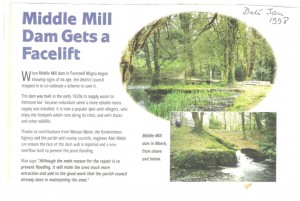 Press cutting about Middle Mill Dam repairs