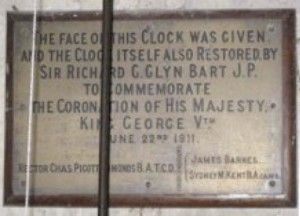 St Andrew's church clock face memorial plaque